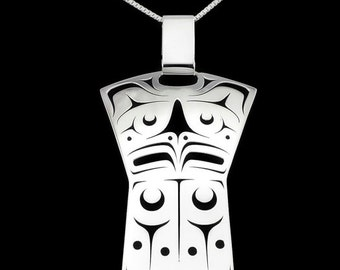 Eagle copper pendant - Northwest Coast Sterling Silver