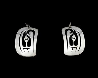 Salmon head earrings - Northwest Coast Sterling Silver