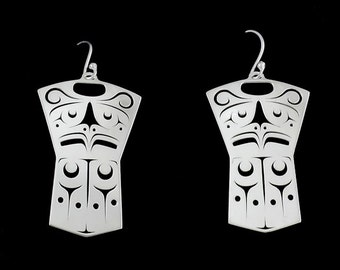 Thunderbird copper earrings - Northwest Coast Sterling Silver