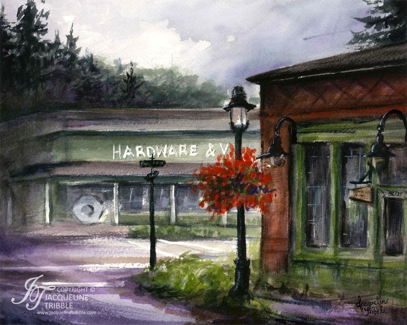 Print  Snoqualmie Bank Watercolor Historic Snoqualmie The image 0