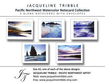 PNW Card Set, 5 Cards and Envelopes | Pacific Coast, Puget Sound, Olympic Peninsula, Watercolor, Pacific Northwest, WA, Greeting Notecards