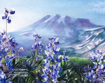 Print - Wildflowers on Mount Rainier, Mt Rainier, Watercolor painting by Jacqueline Tribble, Pacific Northwest archival giclee print
