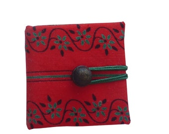 Tiny Red Journal, handmade handbound blank book, craft paper & cotton, gift for artist or callygraph