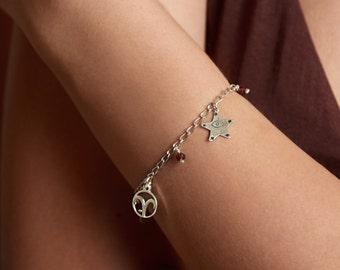 Aries Charm Bracelet, Sterling Silver 925, Red Garnet, Gemstone bracelet, March birthday gift