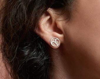 Aries stud earrings, Zodiac studs, sterling silver, Horoscope earrings