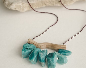 Chrysoprase Positivity Crystal Jewelry, Driftwood Necklace Ocean Lover Gift, Raw Chrysoprase Crystal Teal Necklace