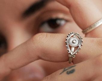 Evil Eye Ring, Silver Eye, Sterling Silver Handmade Evil Eye Protection jewelry, Minimal eye Ring, Lucky Ring, Eye Mati Ring