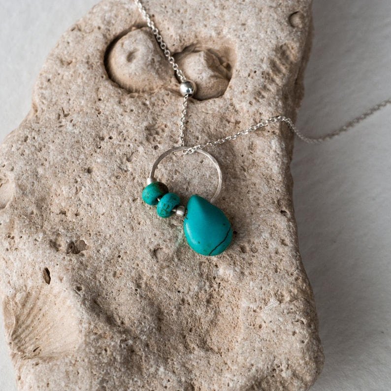 Crystal Necklace Minimalist Necklace Turquoise Necklace Teardrop Silver 925 pendant Howlite  Gemstone Howlite Jewelry