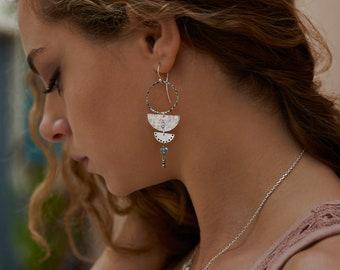 Blue Topaz long earrings, Festival Jewelry, December Birthstone, Sterling silver Stars and Evil eye symbols