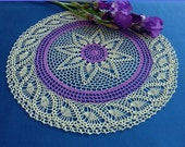 Crochet doily - Home decor - Purple crochet doilies - Light green crochet doily - Large doily - Mother 39 s Day - Handmade tablecloth