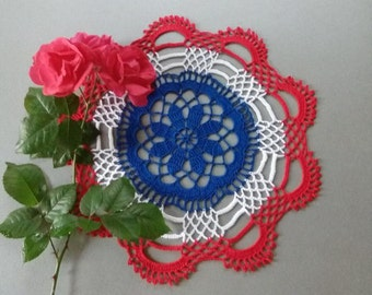 READY TO SHIP Crochet doily -  Round doilies - Small doily - Home decor - red crochet doilies - Mother's Day - Handmade tablecloth