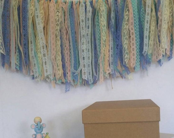 Gender Reveal Baby Shower Vintage Lace Banner Swag Bunting Garland Hand Tied Party Decor Table Backdrop Free Shipping