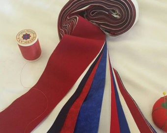 Red, White, Blue, Grey, Eggshell Patriotic Razor Cut Jelly Roll 45 Strip MDG Solids Crafting and Quilting 100 Percent Cotton Free Shipping