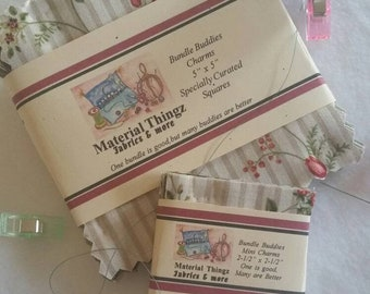 """Specially Curated Charm Bundle for Quilting, Sewing 7 Different Fabrics 5 of each 5""""x5"""" Squares Free Shipping Including Mini Charms Bundle"""