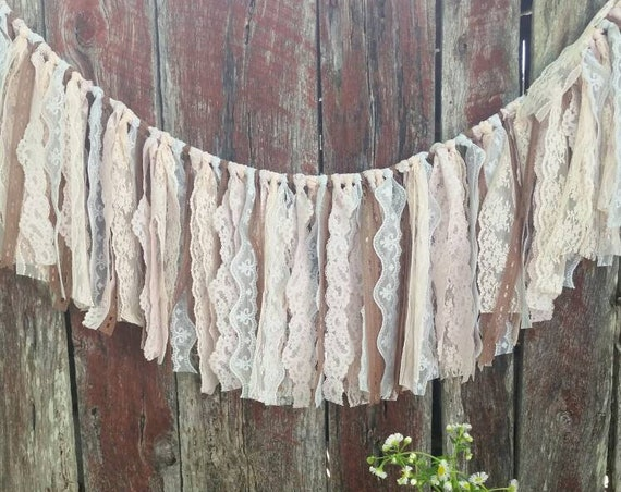 Vintage Unique Lace Boho Shabby Chic Wedding Banner Swag Garland Bunting Hand Tied Shower Party Decor Free Shipping