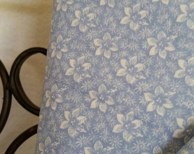 Quilting Fabric, 100 Percent Cotton White Flowers on Light Blue Background