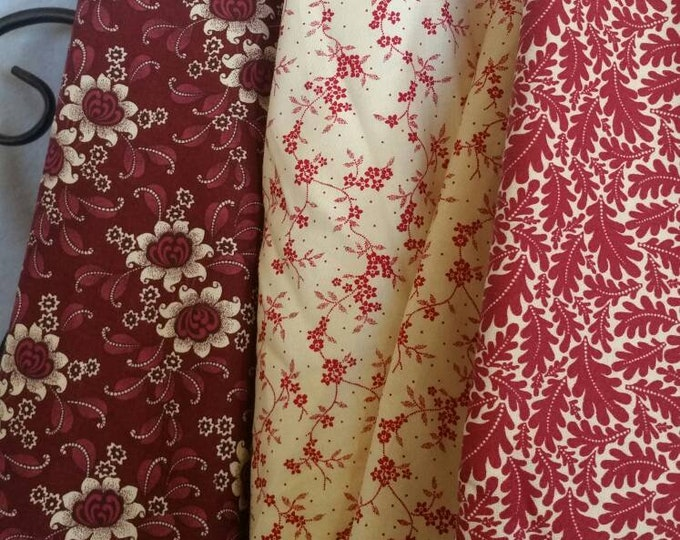Burgandy and Eggshell Quilting Fabric 100 Percent Cotton Sale Bundle Featuring 3 Secially Curated Fabrics in 1 Yard Cuts Free Shipping