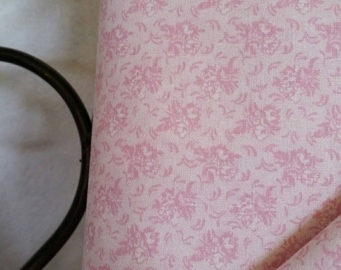 Quilting Fabric, 100 Percent Cotton Pink Flowers on White Background