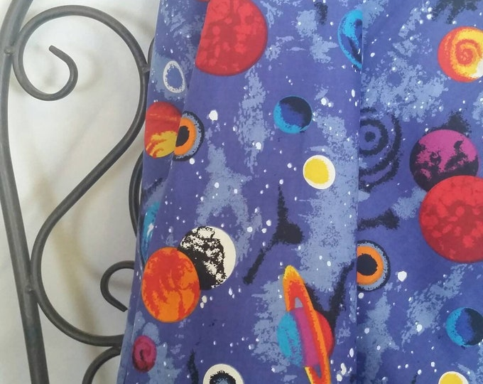 Children's Motif by the Yard MDG Universe and Planets Quilting and Crafting Free Shipping Fabric in Bright Blue, Red, Yellow