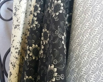 Black and Eggshell Quilting Fabric 100 Percent Cotton Sale Bundle Featuring 3 Specially Curated Fabrics in 1 Yard Cuts Free Shipping