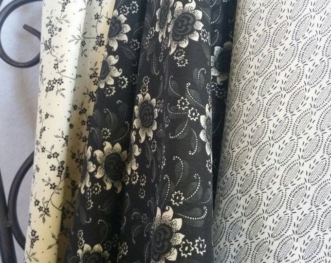 Black and Eggshell Quilting Fabric 100 Percent Cotton Sale Bundle Featuring 3 Secially Curated Fabrics in 1 Yard Cuts Free Shipping
