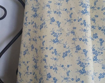 MDG Quilting, Sewing,  Crafting 100 Percent Cotton Fabric Small Ice Blue Flowers and Vines on Tan Background Free Shipping