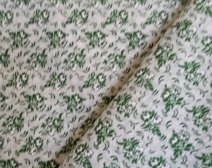 Quilting Fabric, 100 Percent Cotton Green Flowers on White Background