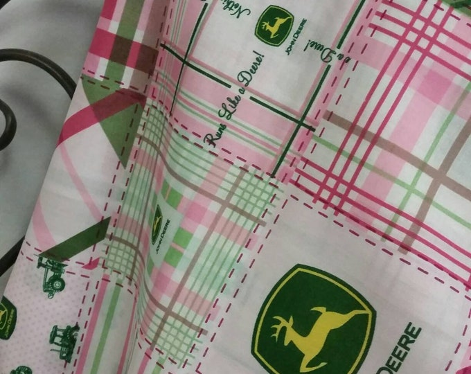 John Deer Licensed Product Madre Plaid Pink and Green by Springs Creative Products Group 100 Percent Quilting  Crafting Fabric Free Shipping