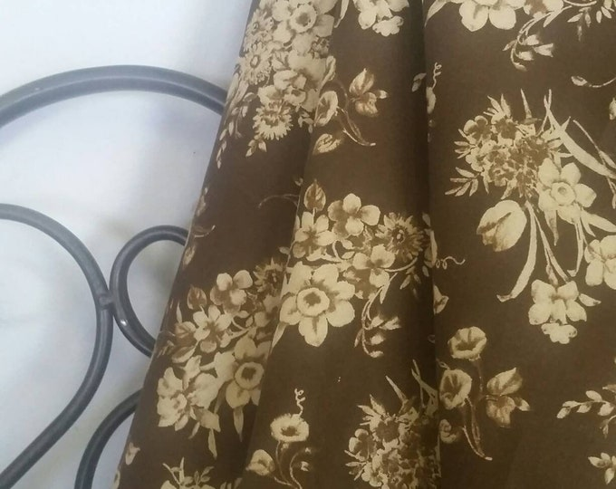 "Dark Brown Background With Tan Sprays of Flowers MDG 100 Percent Quilting and Crafting Fabric 54"" Wide for Quilt LInings Free Shipping"