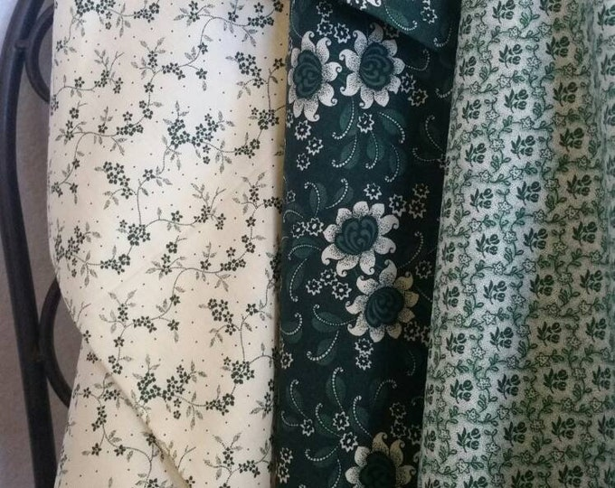 Green and Eggshell Quilting Fabric 100 Percent Cotton Sale Bundle Featuring 3 Secially Curated Fabrics in 1 Yard Cuts Free Shipping