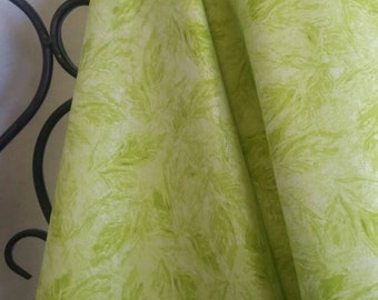 Riley Blake Shimmer in Lime Featuring Paintstroke Leaves 100 Percent Cotton Fabric for Quilting, Crafting and Sewing Free Shipping
