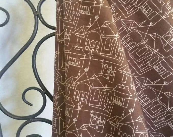 Victoria and Albert, London, David Textiles Church and House Motif Brown 100 Percent Cotton for Quilting, Crafting, Sewing Free Shipping