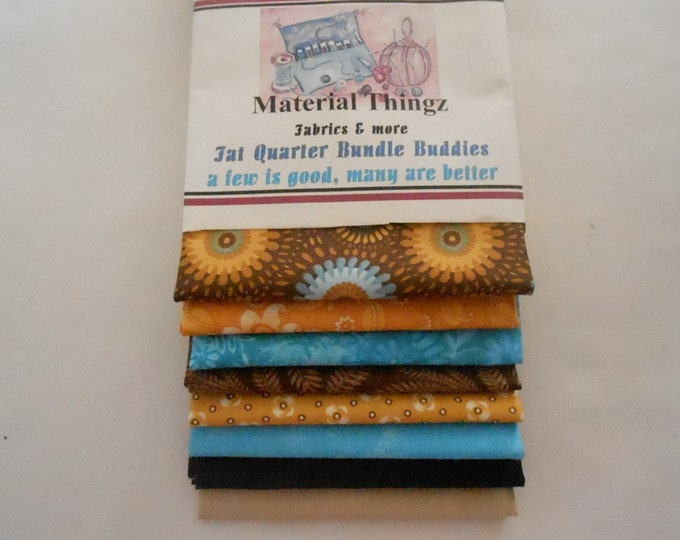 Free Shipping 8 Fat Quarter Bundle Buddies in Blues, Golds and Browns 100 Percent Cotton, Quilting, Sewing, Crafting Fabric