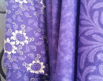 Purple and Eggshell Quilting Fabric 100 Percent Cotton Sale Bundle Featuring 3 Secially Curated Fabrics in 1 Yard Cuts Free Shipping