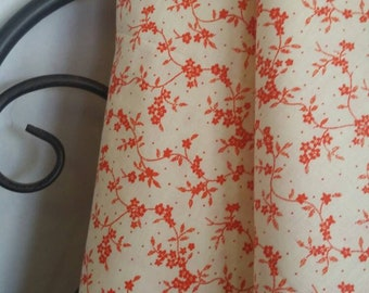 MDG Quilting, Sewing,  Crafting 100 Percent Cotton Fabric Small Orange Flowers and Vines on Tan Background Free Shipping