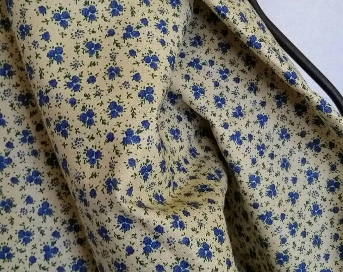Quilting Fabric, 100 Percent Cotton Small Dark Blue Flowers on Tan Background