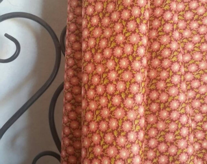 Andover Sequoia Small Rose Colored Flowers on Burgandy Background 100 Percent Cotton for Quilting, Sewing, Crafting  Free Shipping