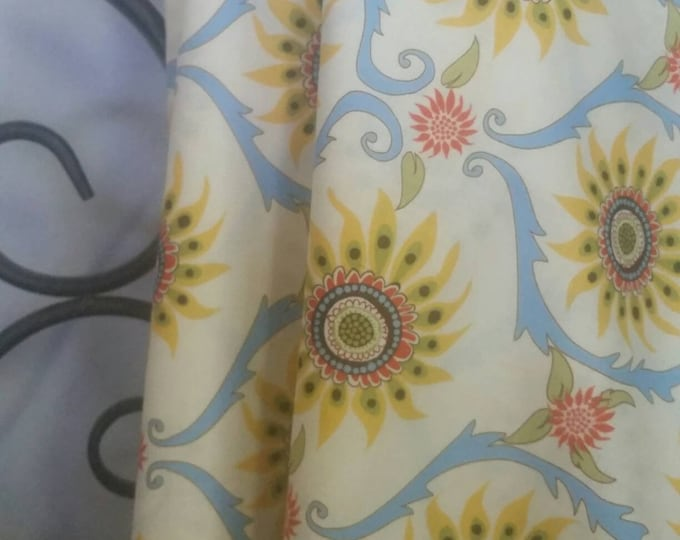 Quilting Fabric, 100 Percent Cotton In the Beginning Better Gnomes and Gardens, Blues and Yellow Medallion Motif Sewing Fabric