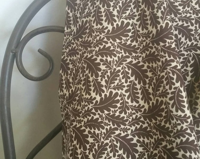 MDG Dark Brown Oak Leaves on Light Tan Background 100 Percent Cotton Quilting Crafting Fabric Free Shipping