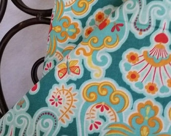 RJR The Sultans Garden Bright Modern Pattern Ice Blue, Orange, Free Shipping Quilting, Sewing, Crafting Fabric, 100 Percent Cotton