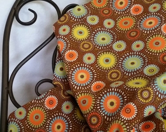 Free Shipping Quilting Fabric, 100 Percent Cotton Geometric flowers on a Field of Brown Sewing, Crafting, Quilting Fabric