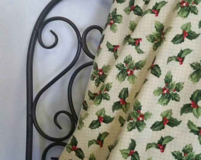 Crimson & Holly - Wilmington Prints, Holly Berries and Leaves for Christmas Crafts, Quilting and Sewing Free Shipping, 100 Percent Cotton