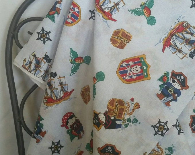 Pirates Motif Children's Fabric Pirates on White Background with Ships Bright Colored Fussy Cut Applicable 100 Percent Cotton Free Shipping