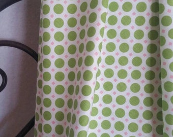 Riley Blake So Cherry 2 by Lori Holt Lime Green Dots and Pink Squares on White Background for Crafting, Quilting, Cotton Free Shipping