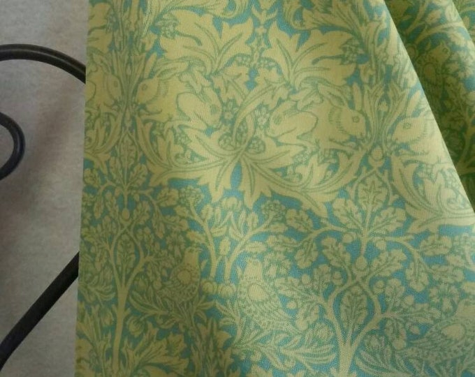 Victoria and Albert, London, David Textiles Birds, Trees, Rabbits Motif Lime Green 100 Percent Cotton for Quilting, Crafting,  Free Shipping