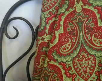 Crimson & Holly by Wilmington Prints in Red and Green Paisley for Christmas Quilting and Crafting Free Shipping Fabric, 100 Percent Cotton
