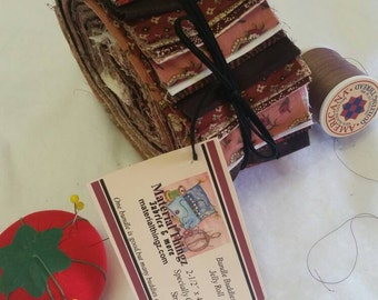"""Civil War Inspired Jelly Roll Bundle Buddies 2-1/2"""" x 42"""" For Quilting, Sewing 100 Percent Cotton 40 Burgandy/Tan Stripes Free Shipping"""