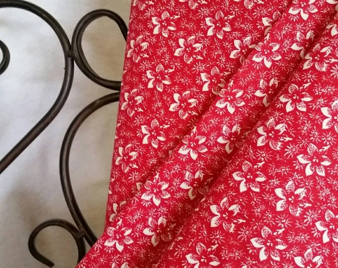 Quilting Fabric, 100 Percent Cotton White Flowers on Red Background