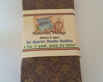 Free Shipping 8 Bundle Buddies Fat Quarter Brown, Gold, Orange Grouping 100 Percent Cotton Sewing, Quilting, Crafting Fabric