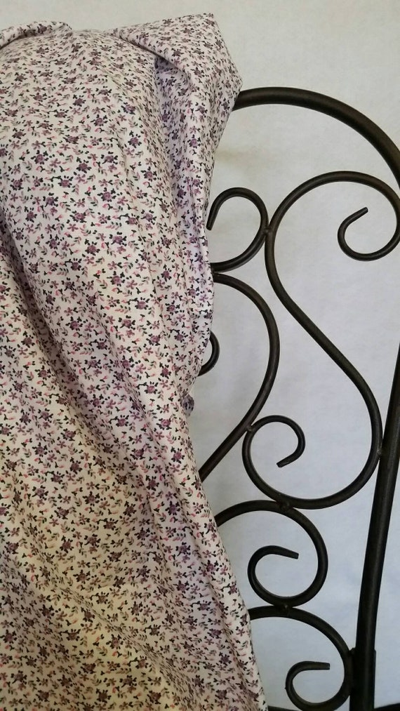 Free Shipping Quilting Fabric, 100 Percent Cotton Purple Pink Flowers on White Background